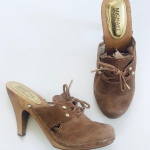 Michael Kors Clogs Suede Brown heeled Shoes